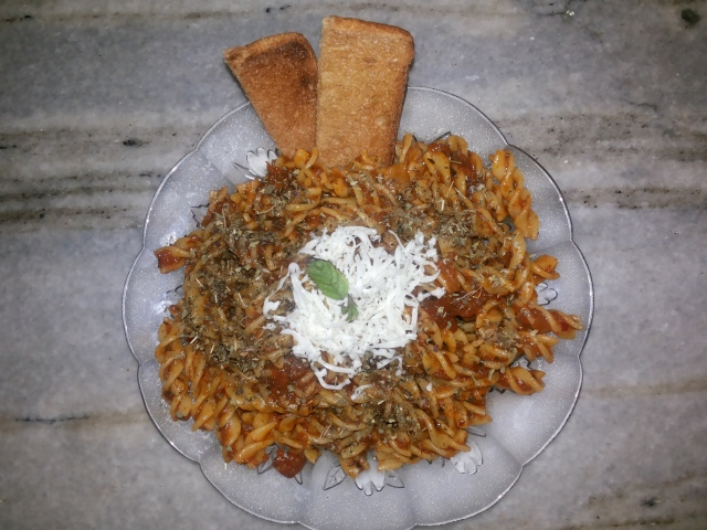 Garnished Arrabiata in Fusilli